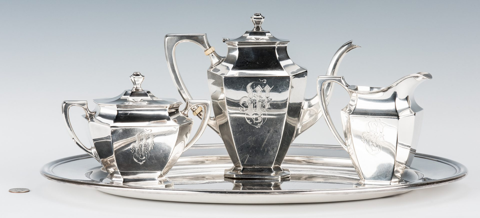 Lot 701: 3 Pc. Wallace Sterling Tea Service w/ Silverplate Tray