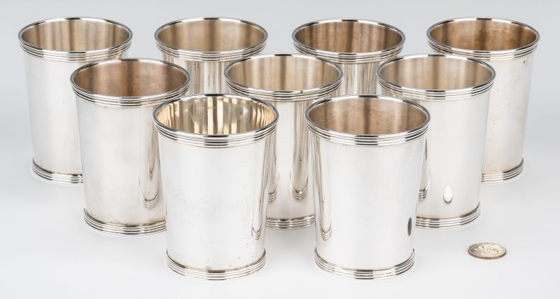 Lot 704: 9 International Sterling Mint Julep Cups
