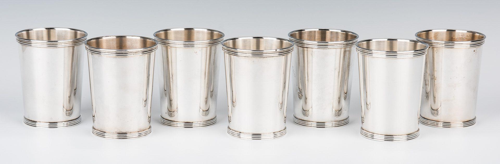 Lot 704: 9 International Sterling Mint Julep Cups