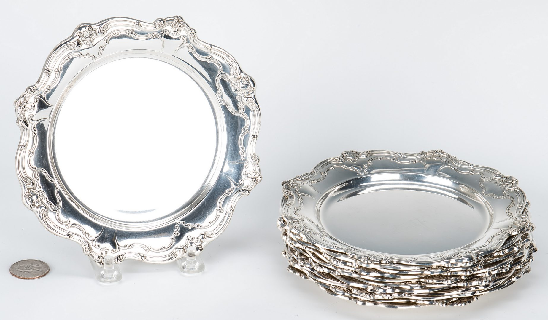 Lot 706: 13 Gorham Sterling Chantilly Bread & Butter Plates