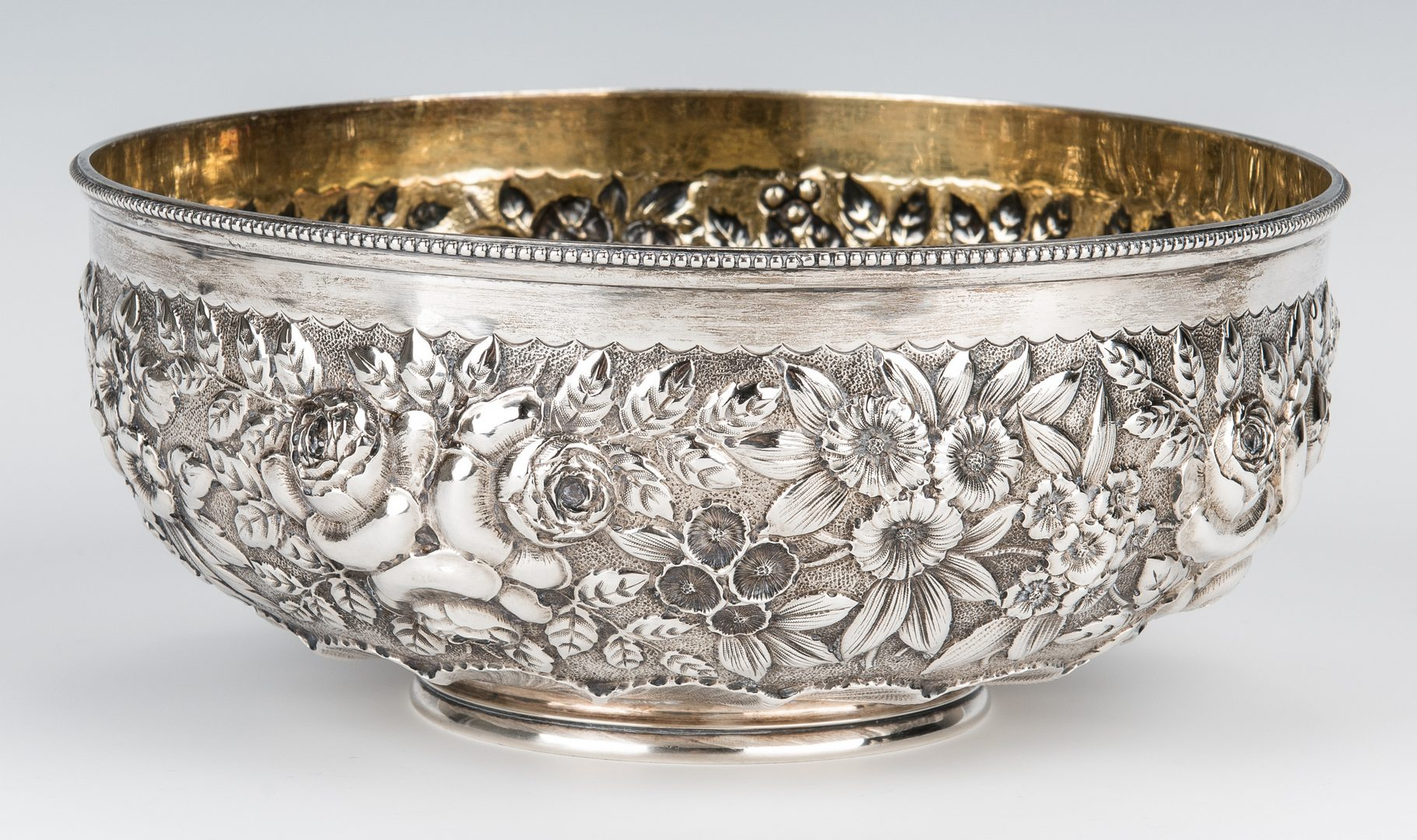 Lot 712: 6 Fine Sterling Repousse Table Items