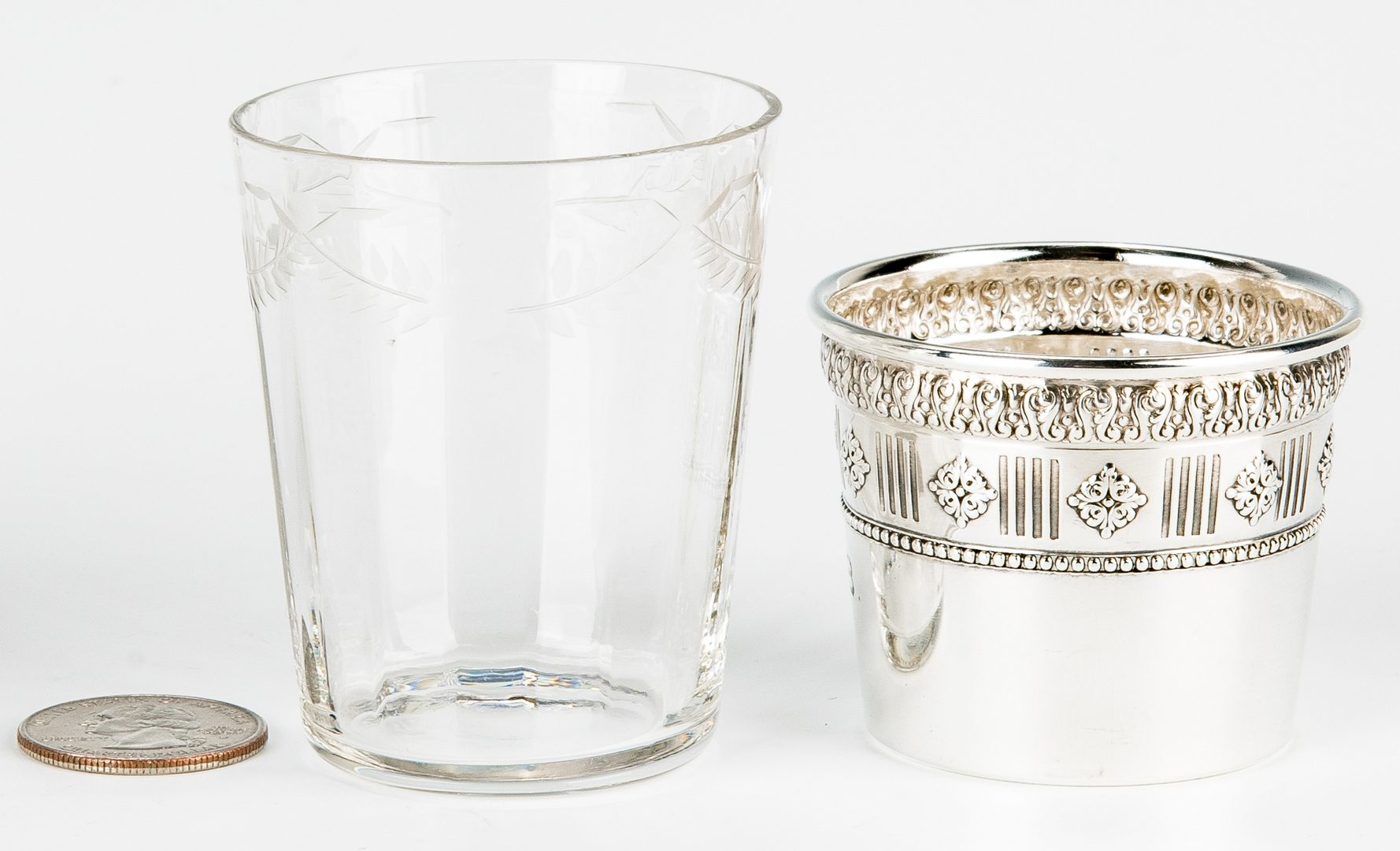 Lot 718: Sterling and Glass Brandy Set with Tray