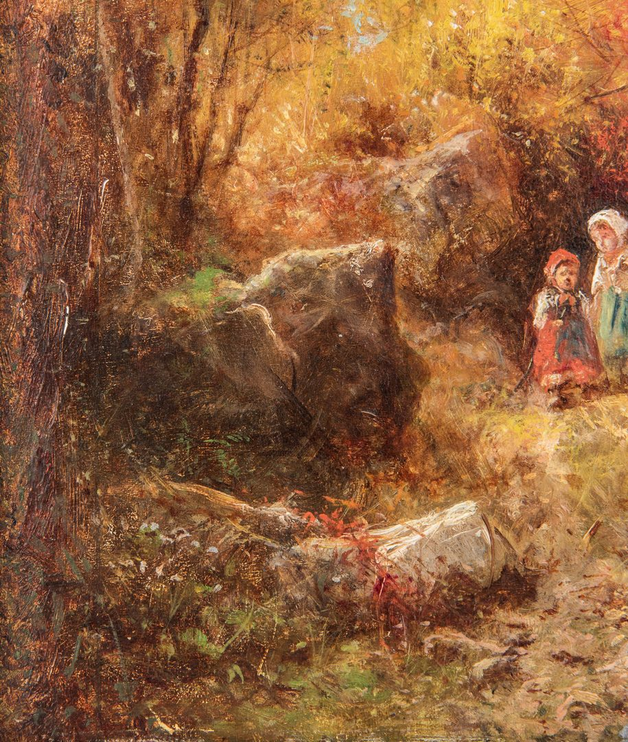 Lot 722: James Crawford Thom, O/C, Children in Autumn Forest