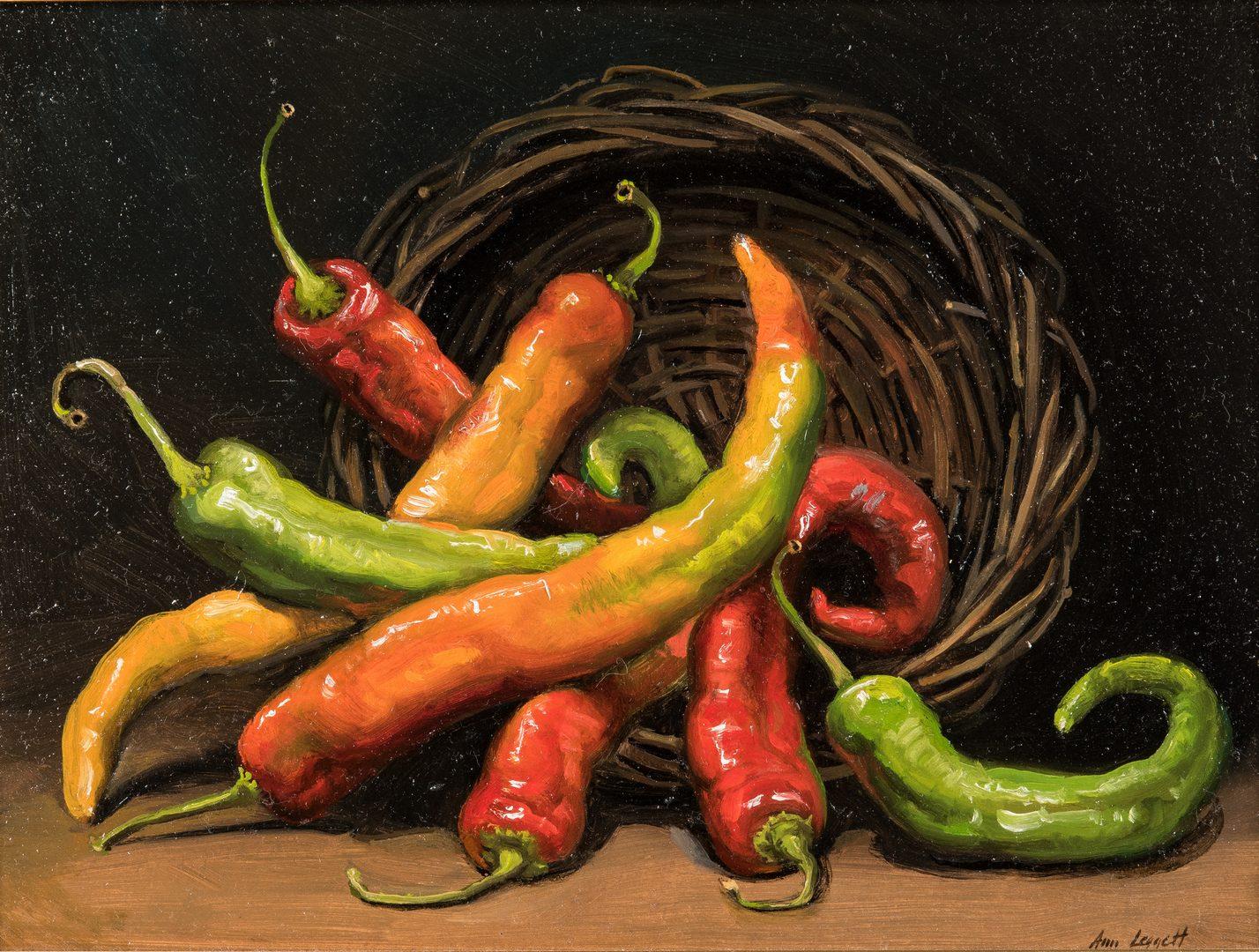 Lot 724: Ann Leggett O/B, Chili Pepper Still Life Painting