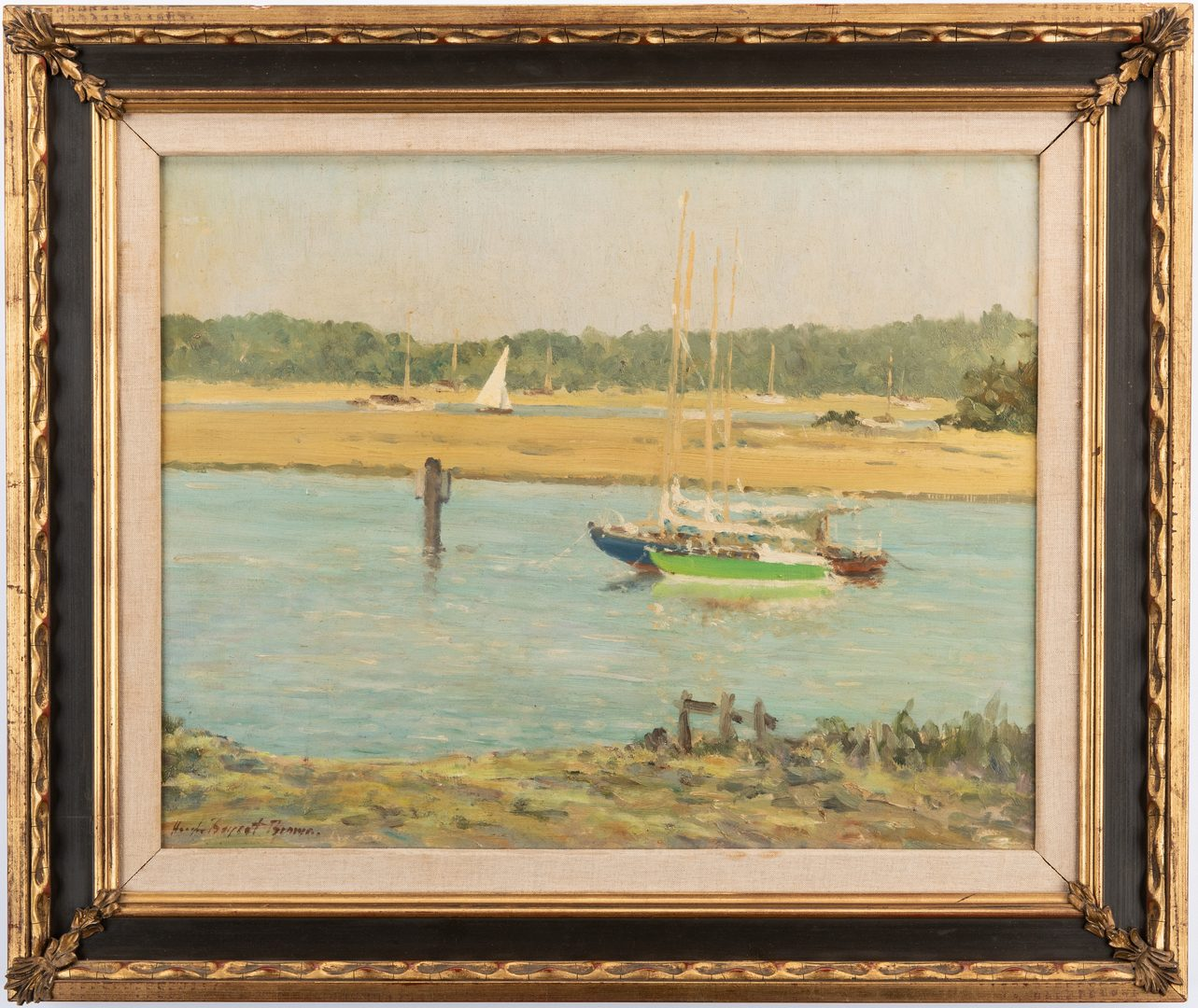 Lot 727: Hugh Boycott Brown O/B, Maritime Scene