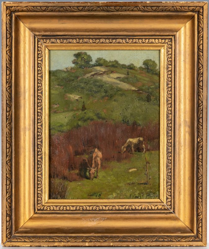 Lot 729: Ernest Parton Oil on Panel Pastoral Landscape