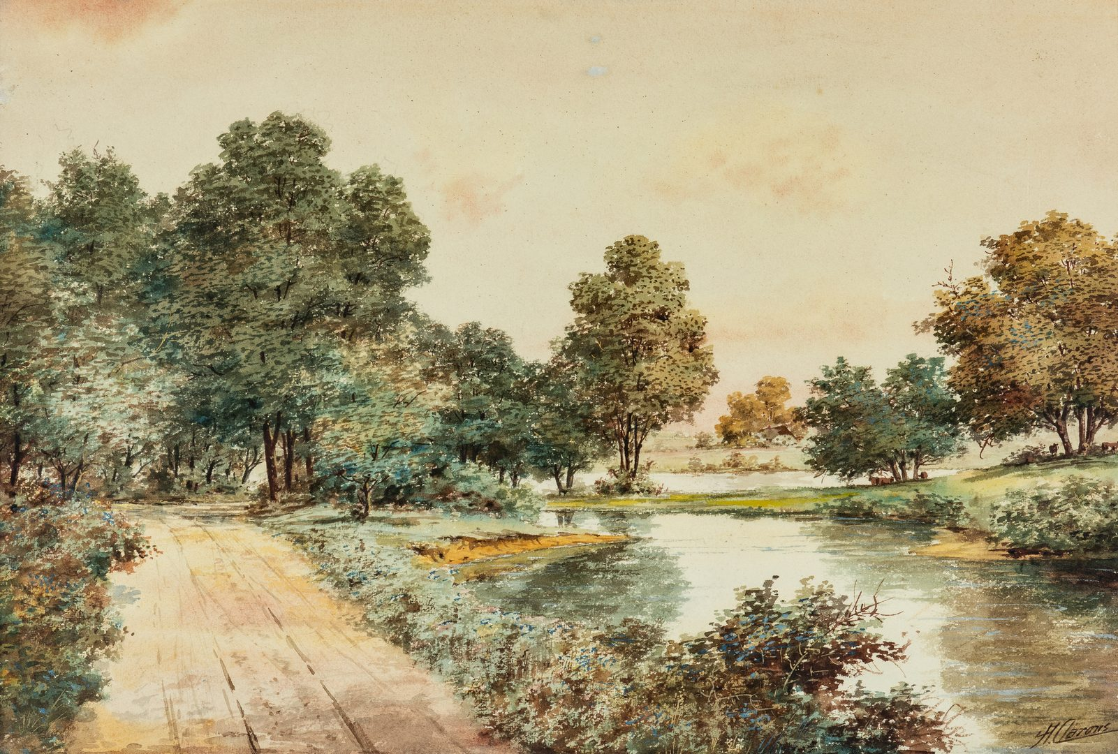 Lot 730: 2 Continental School Watercolors, signed H. Aarons