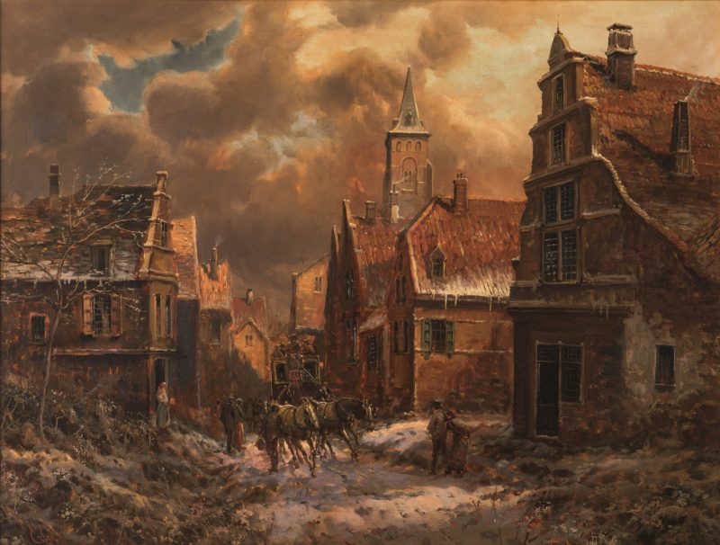 Lot 732: Emilio Payes, Winter Village Landscape