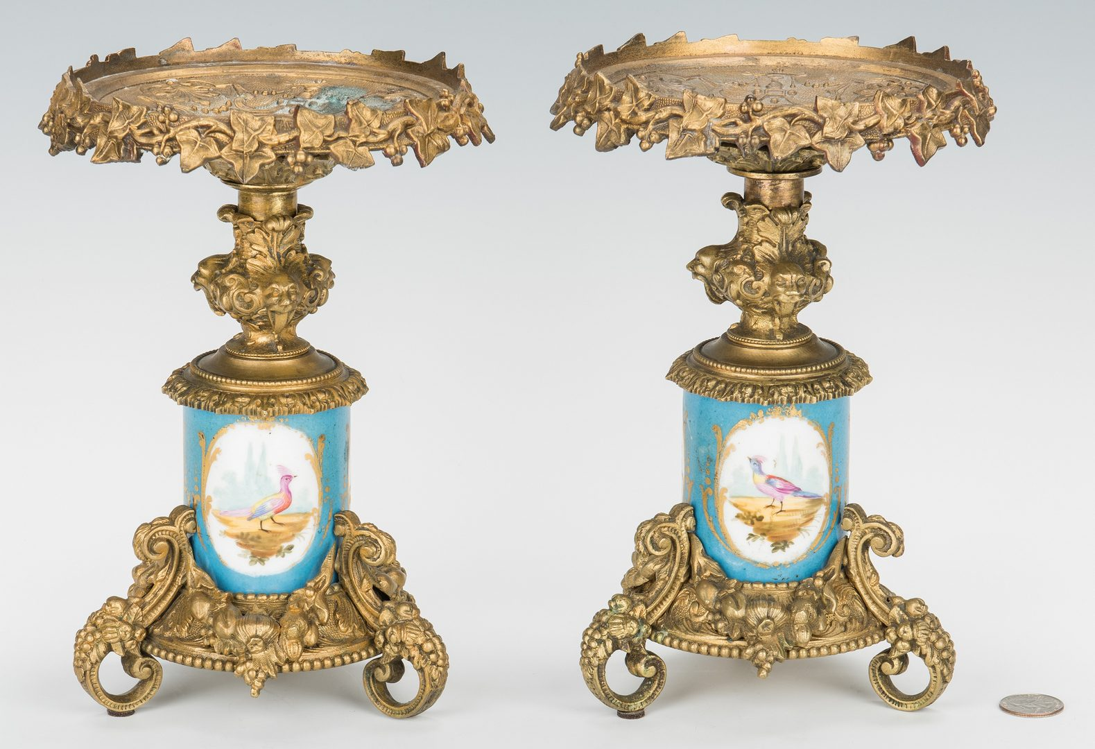 Lot 73: Pair Sevres Style Garniture Tazzas