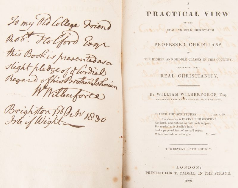 Lot 741: William Wilberforce Signed Book