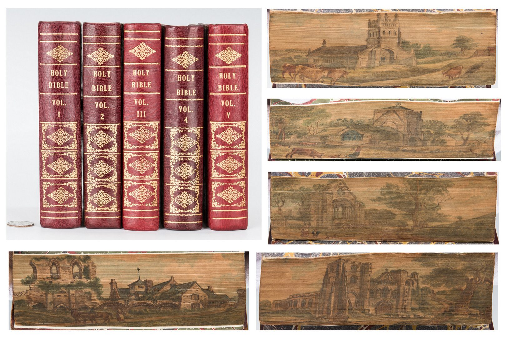 Lot 743: 5 Single Fore-Edge Painted Holy Bible Vols.