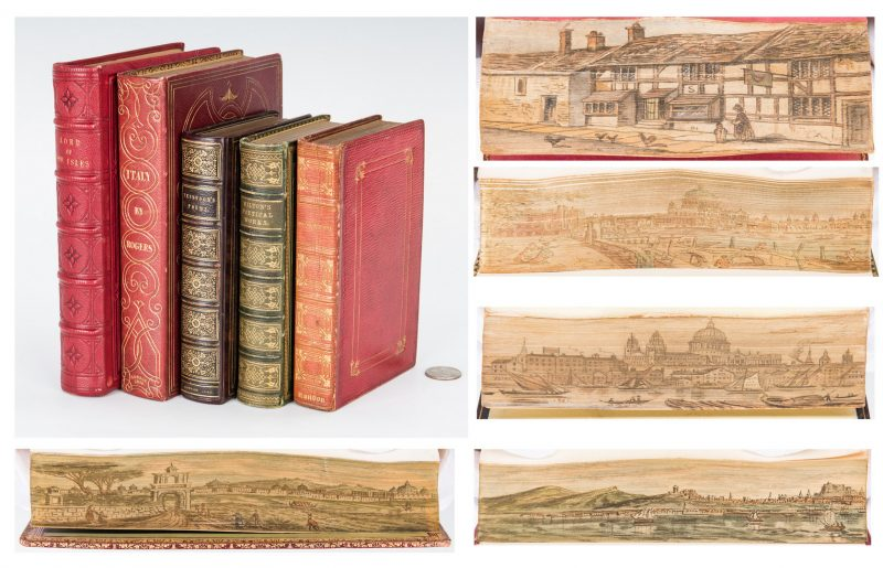 Lot 745: 5 Single Fore-Edge Painted Literary Books, Shakespeare, Tennyson, Milton