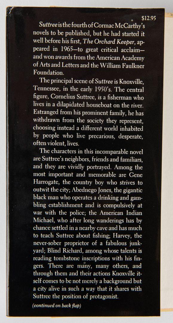 Lot 750: Cormac McCarthy, Suttree, 1st Ed., 1979