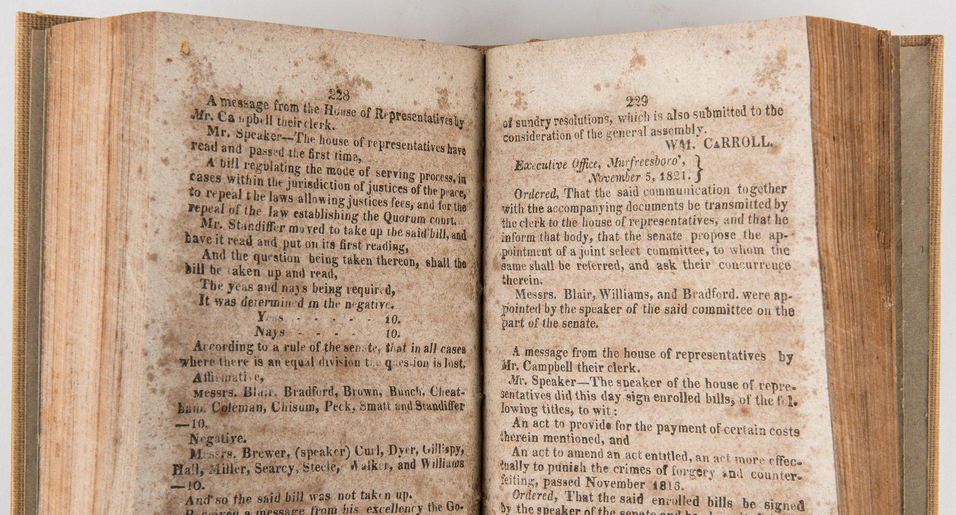 Lot 754: Journals of TN House & Senate 1821, 23, 24, 26, 29