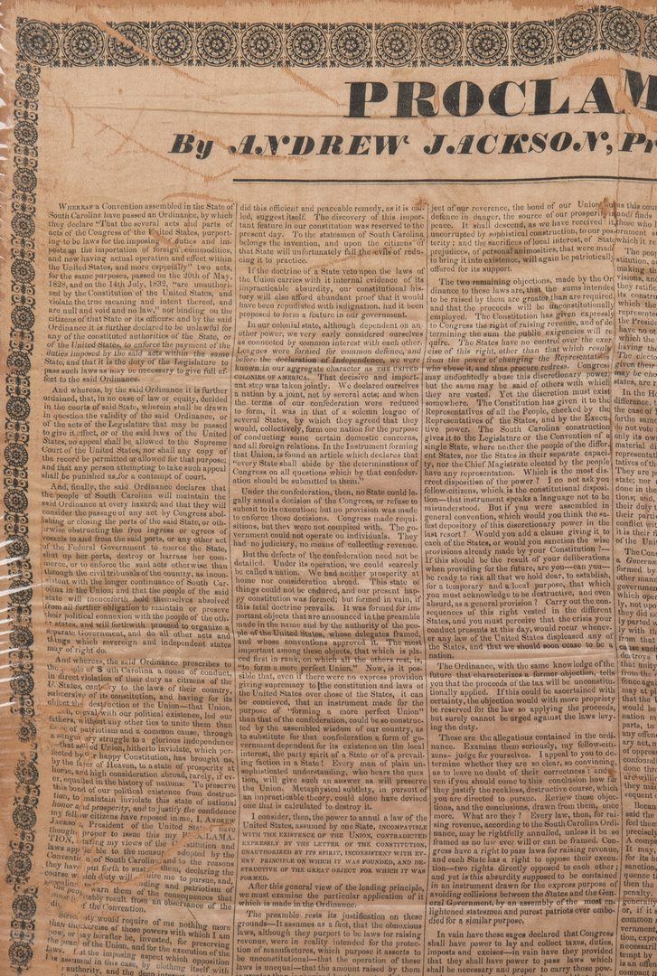 Lot 757: Andrew Jackson Silk Broadside, 1832 Proclamation to SC