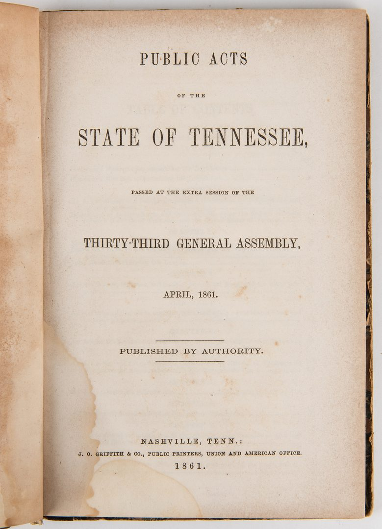 Lot 759: Historical TN items, incl. Gov. W. Blount Signed, Acts of TN