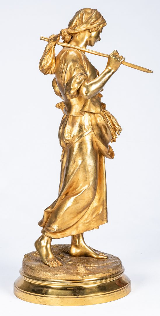 "Lot 75: Eugene Aizelin Gilt Bronze Sculpture, ""La Glaneuse"""