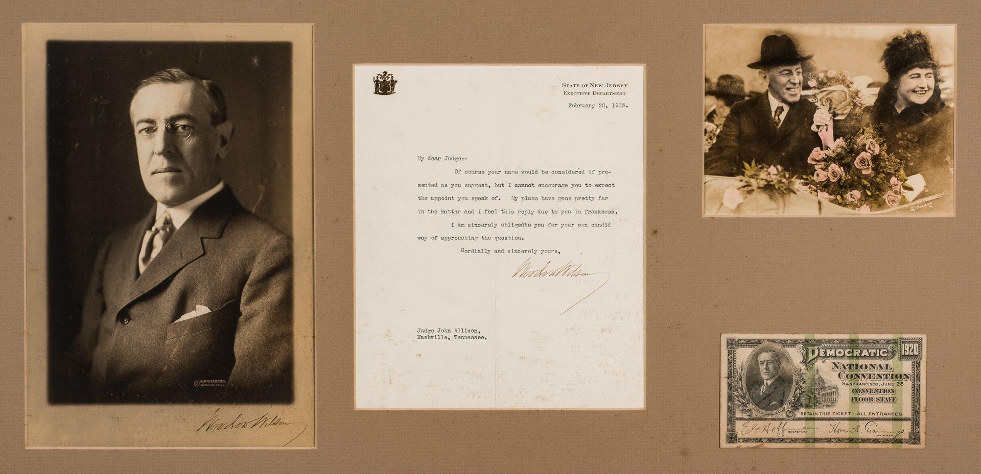 Lot 760: Framed Woodrow Wilson Items, incl. TLS, Signed Photo