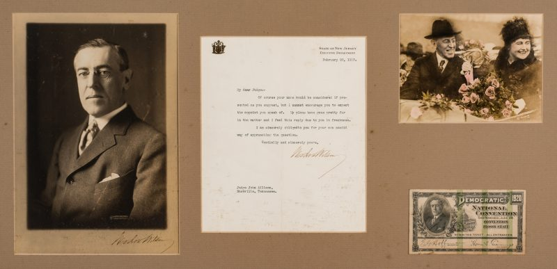 Lot 760: Framed Woodrow Wilson Items, incl. TLS, Signed Photo