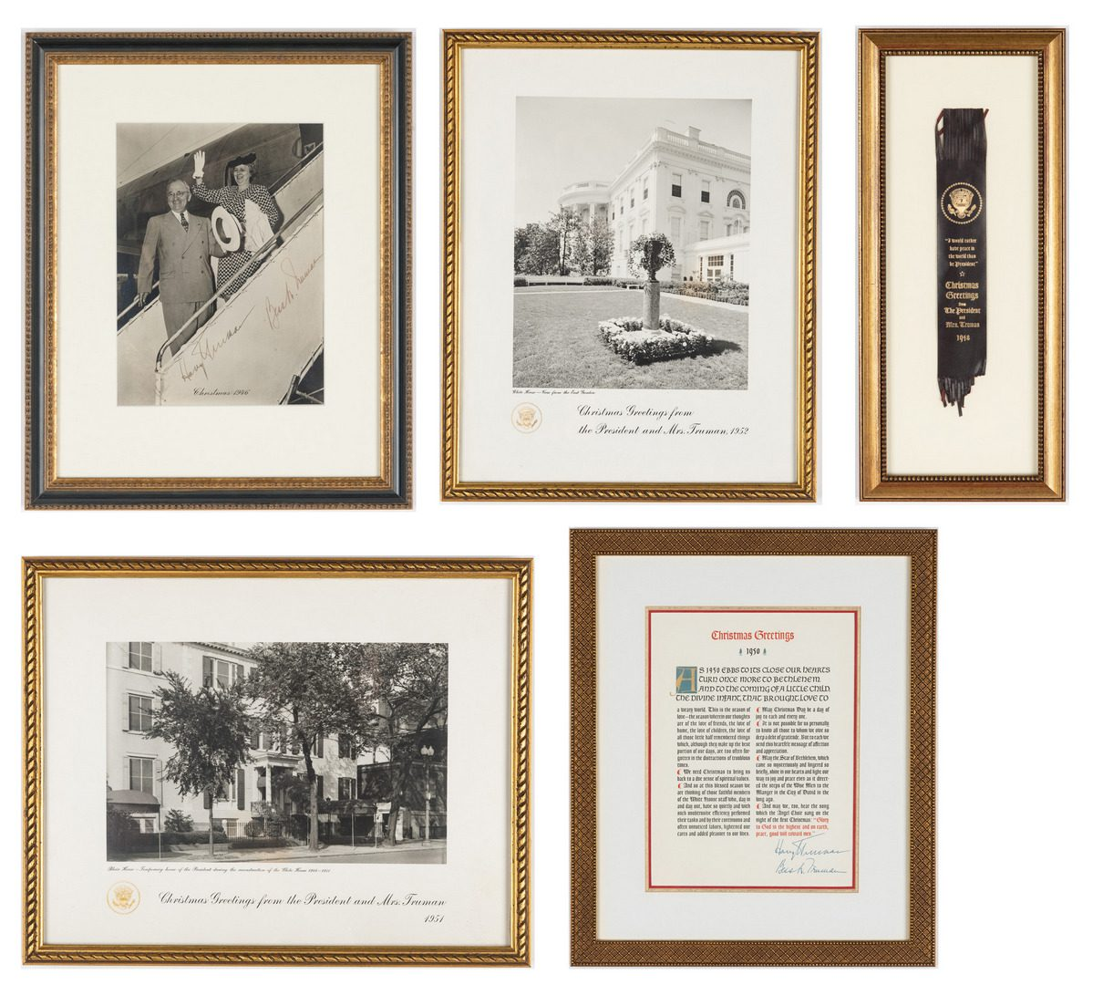 Lot 761: 5 Truman Christmas Gifts, incl. Hand Signed Photograph