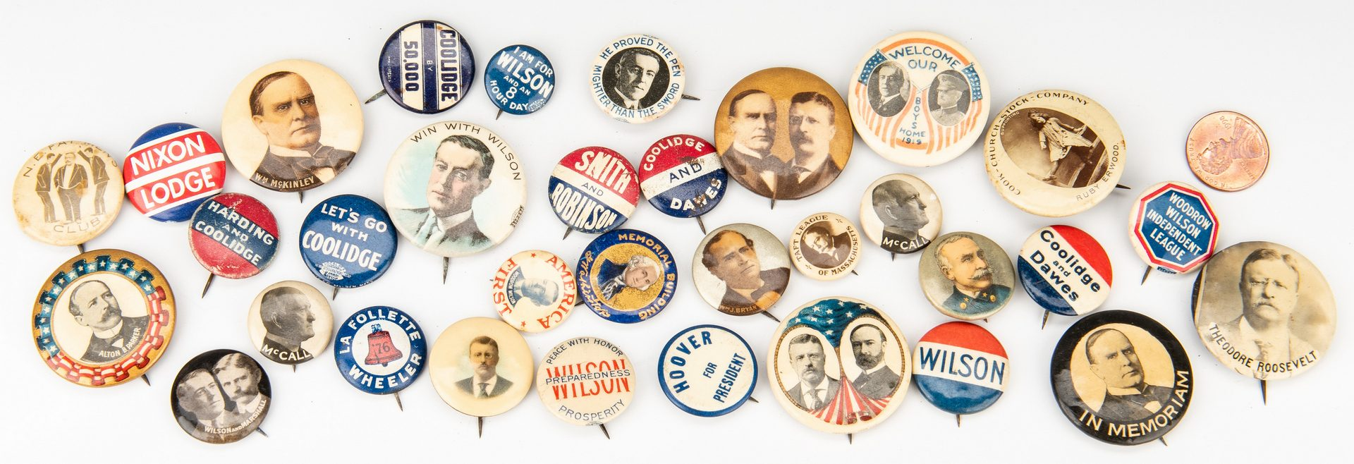 Lot 763: 33 Early Political Pinback Buttons incl. T. Roosevelt & Others