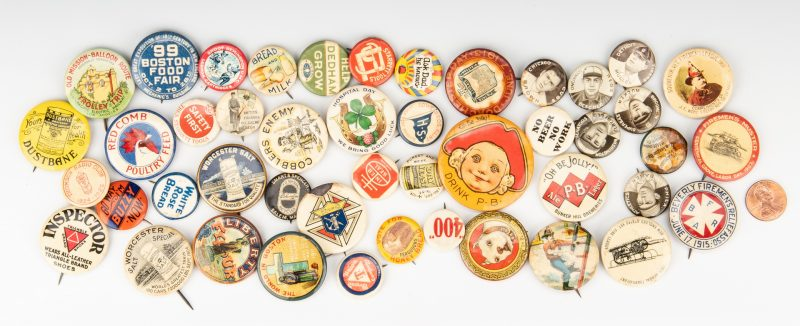 Lot 765: 46 Early Pinback Buttons, incl. Beer, Baseball, Firemen