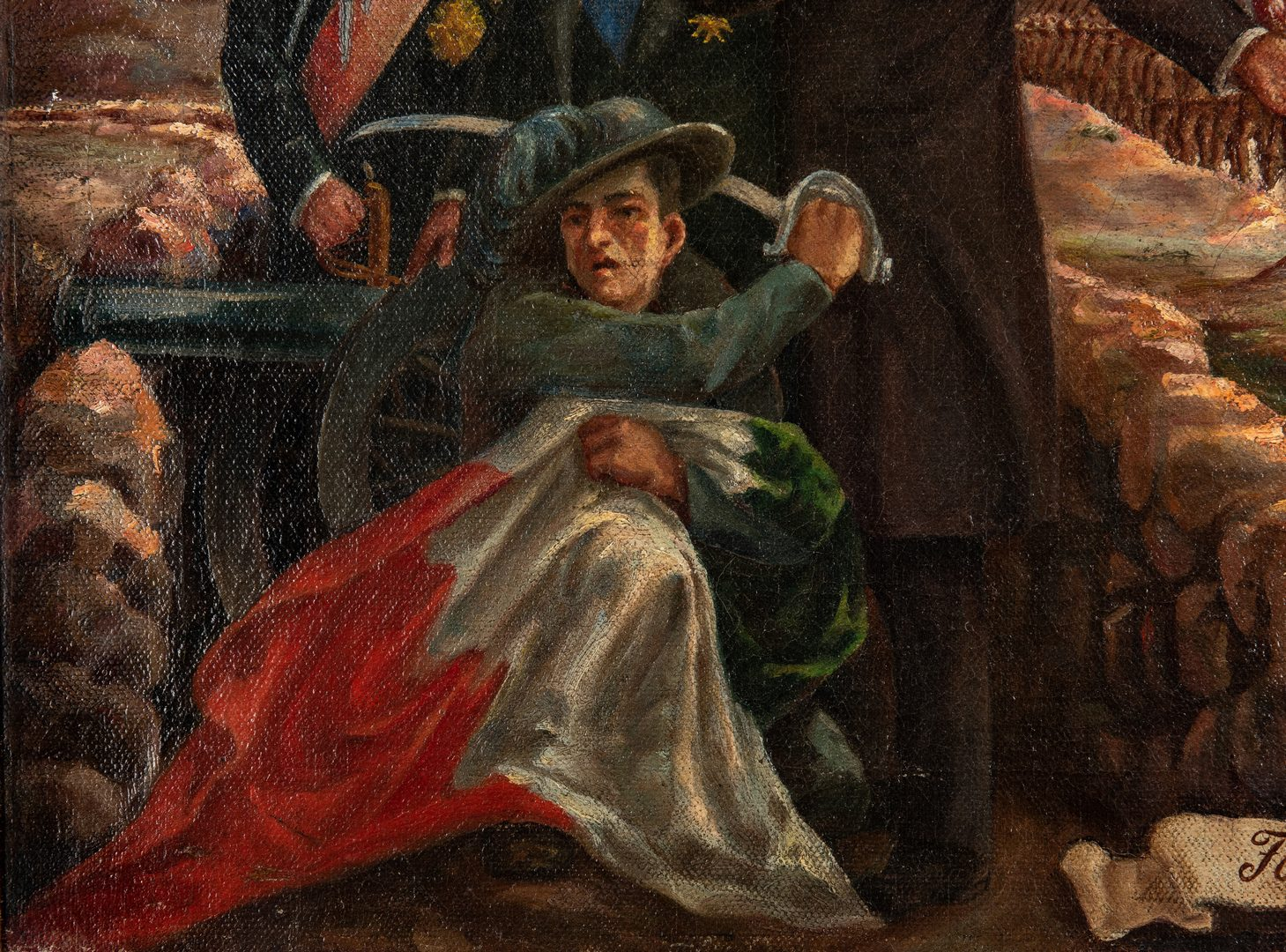 "Lot 767: WWI painting ""For the Freedom of the People"""