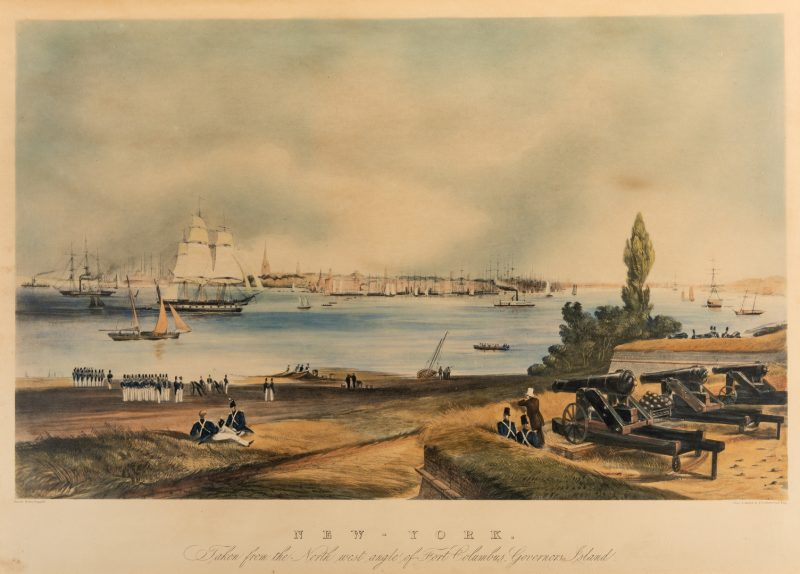 Lot 769: New York: View from Fort Columbus, Governors Island Lithograph