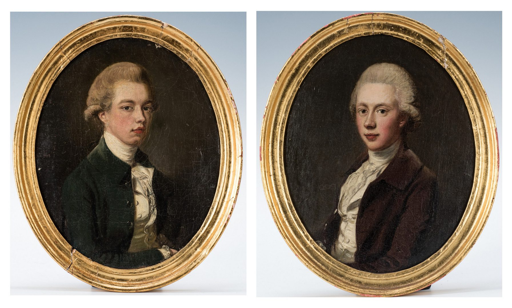 Lot 76: Attr. Francis Wheatley, 2 Barnewalle Family Portraits of Young Men