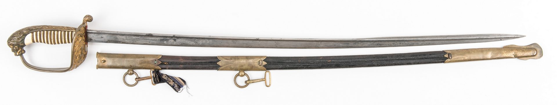 Lot 791: German Eisenhauer Imperial Naval Sword with Leather Scabbard