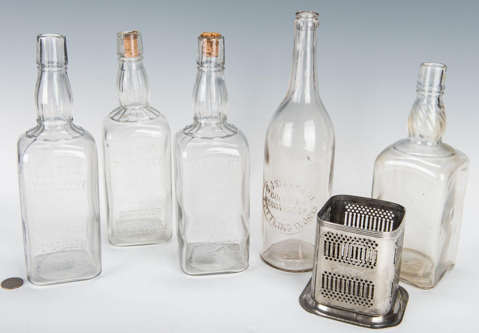 Lot 796: 3 Jack Daniels Whiskey Bottles, Silverplate Holder & 2 More