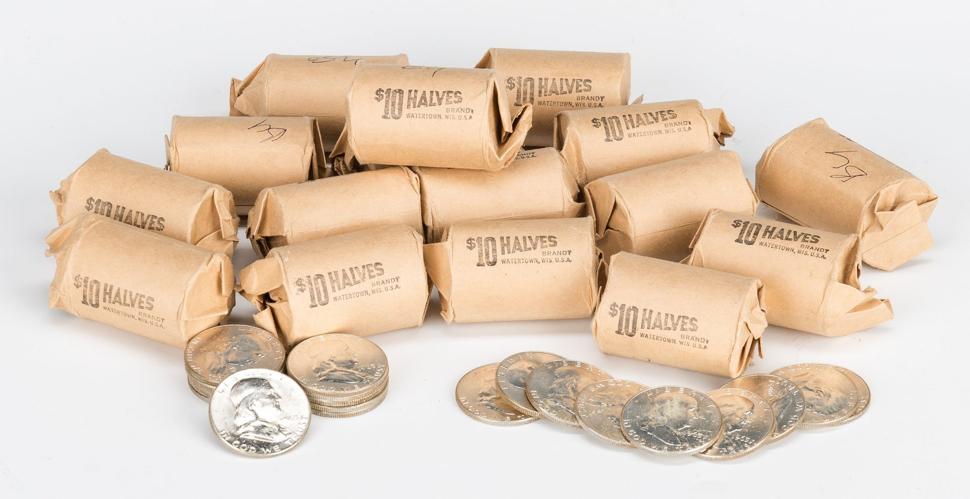 Lot 802: 17 BU Rolls of Franklin Half Dollars