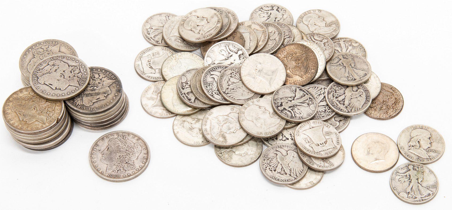 Lot 804: 23 Morgan, 25 Walking Liberty, 25 Franklin, 7 Kennedy Silver Dollars/Half Dollars
