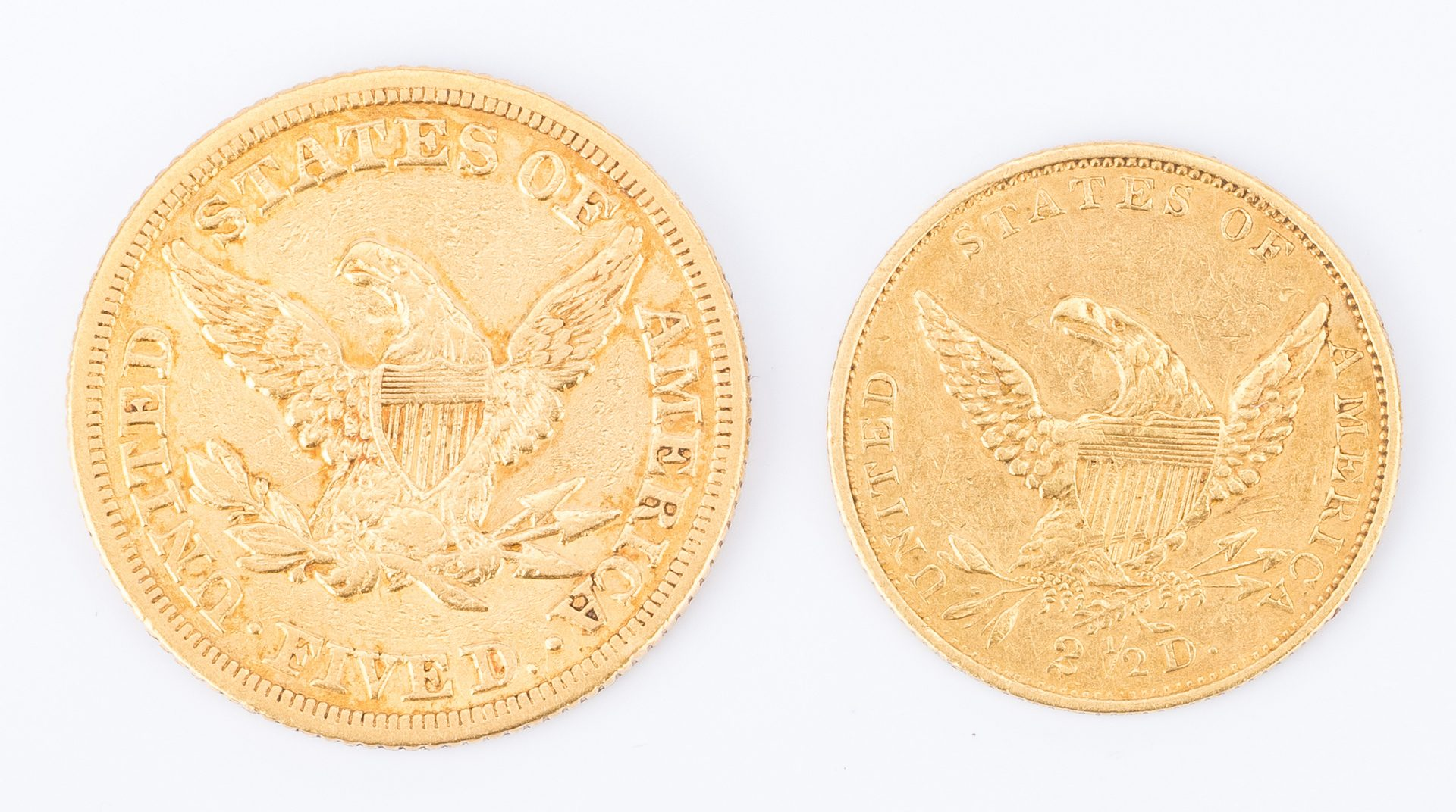 Lot 805: 2 US Gold Coins, incl. 1836 $2.50, 1854 $5