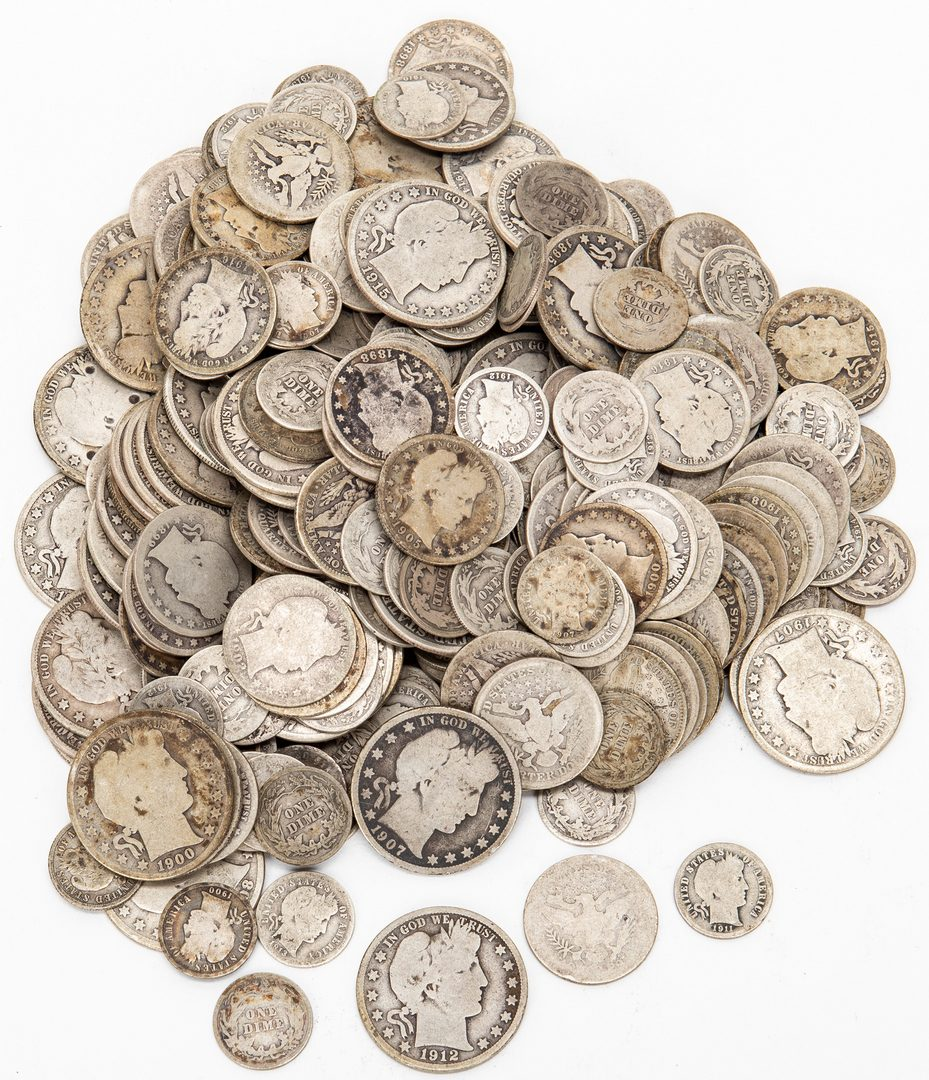 Lot 808: 304 Barber Silver Half Dollars, Quarters, & Dimes