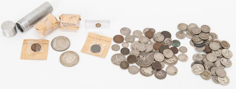 Lot 810: 148 Mixed US Coins w/Silver, incl. Franklins, 1921 Peace