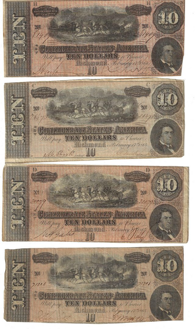 Lot 813: Group of 37 Confederate 1864 $10 & $20 Bills