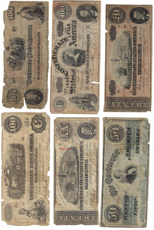 Lot 815: 33 Mixed Confederate Bills, incl. $100, $50