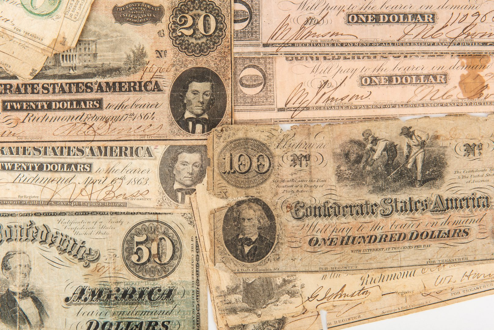 Lot 815: 33 Mixed Confederate Bills, incl. $100, $50