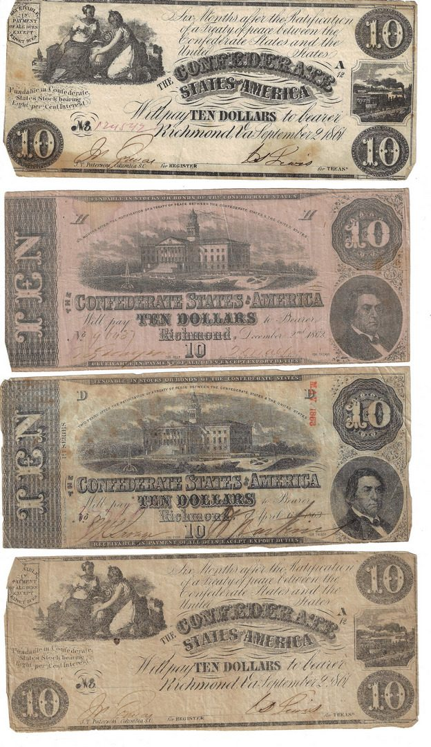 Lot 816: Group of 31 Confederate $5, $10, & $20 Bills