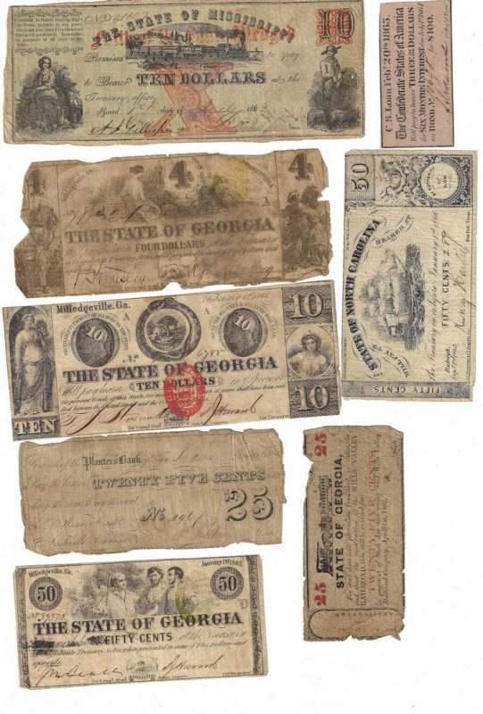 Lot 817: Obsolete & Confederate Bills w/ Fullton Letter