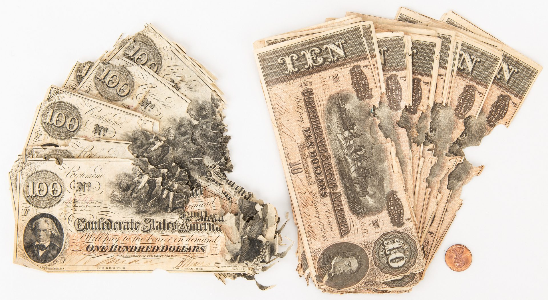 Lot 819: 84 Confederate Bills