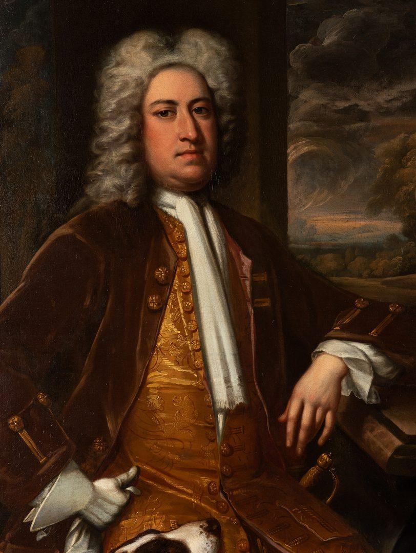 Lot 81: Circle of Thos. Hudson – Jonathan Richardson, Portrait of Man with Dog