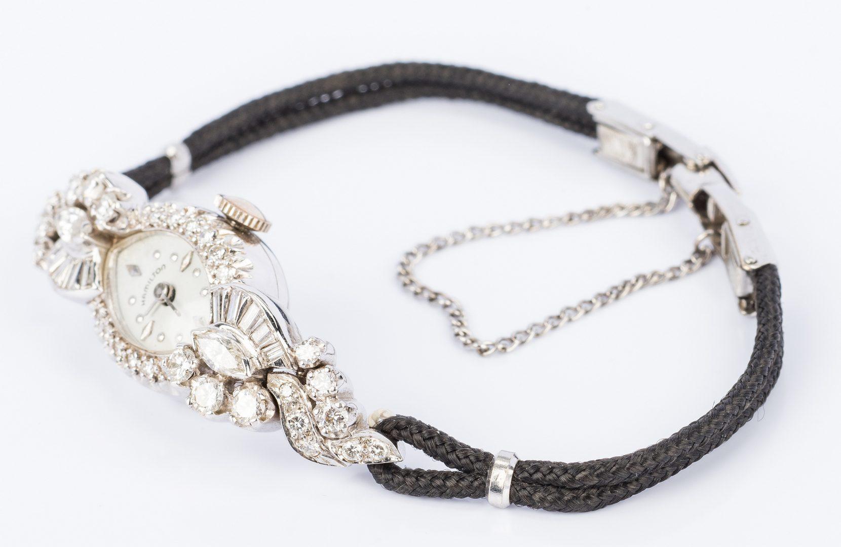 Lot 830: Vintage 14K Hamilton Diamond Watch