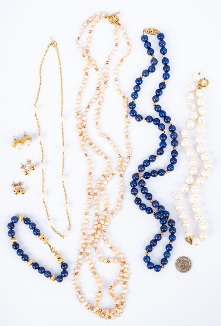 Lot 832: Group of 8 14K Pearl and Lapis Jewelry Items
