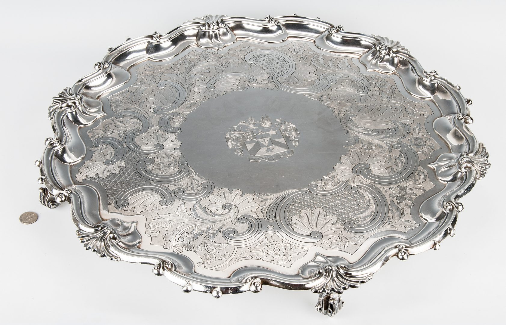 Lot 834: Large Old Sheffield Salver w/ Armorial Crest