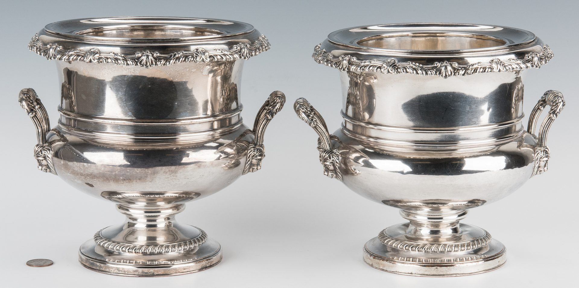 Lot 835: Pair Old Sheffield Plate Wine Coolers