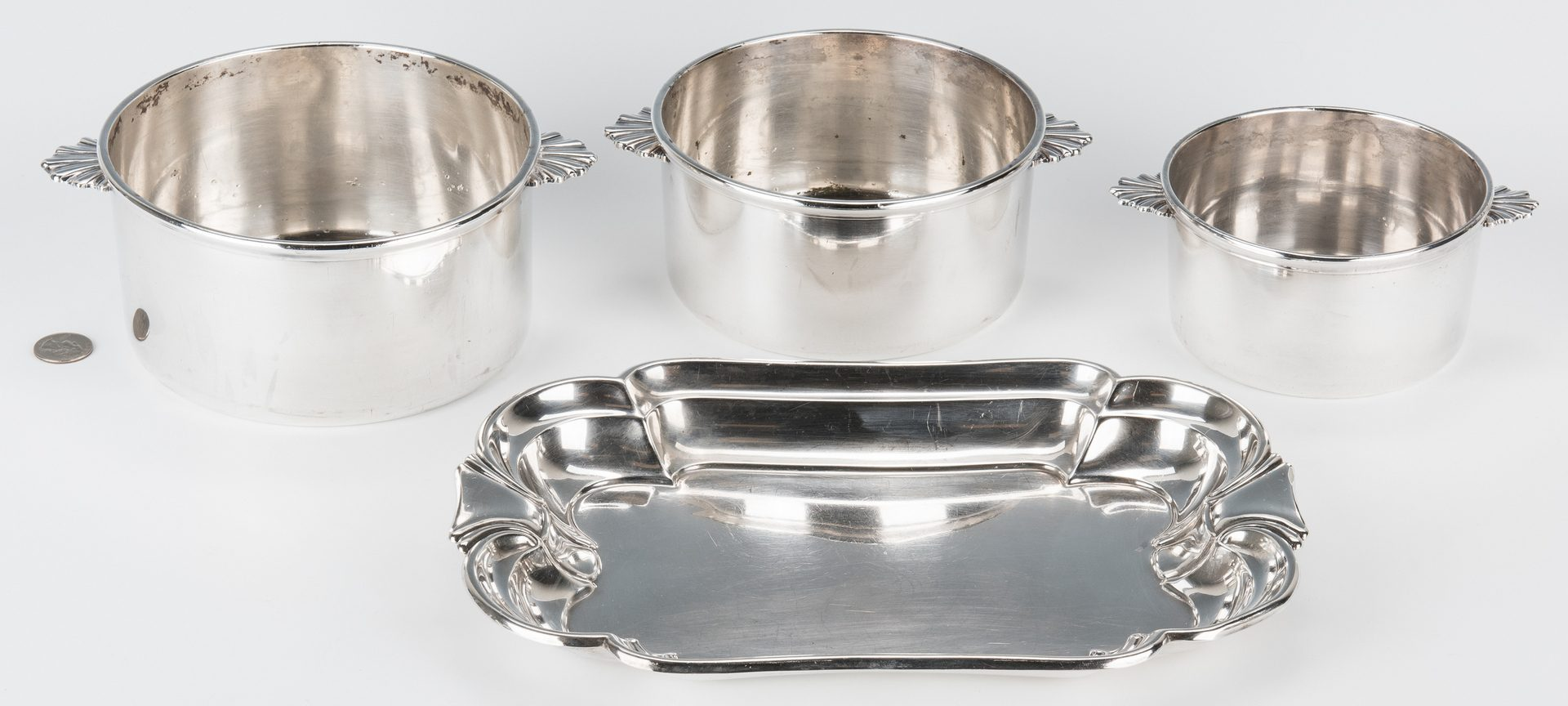 Lot 837: International Sterling Tray & 3 Christofle Nesting Pots, 4 items