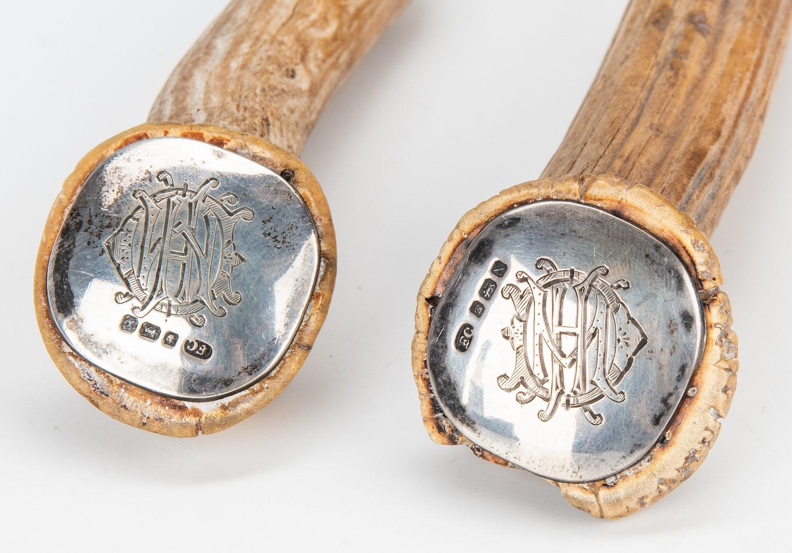 Lot 839: 34 Pcs. Sterling Flatware, incl. Tiffany, Antler Handled Set