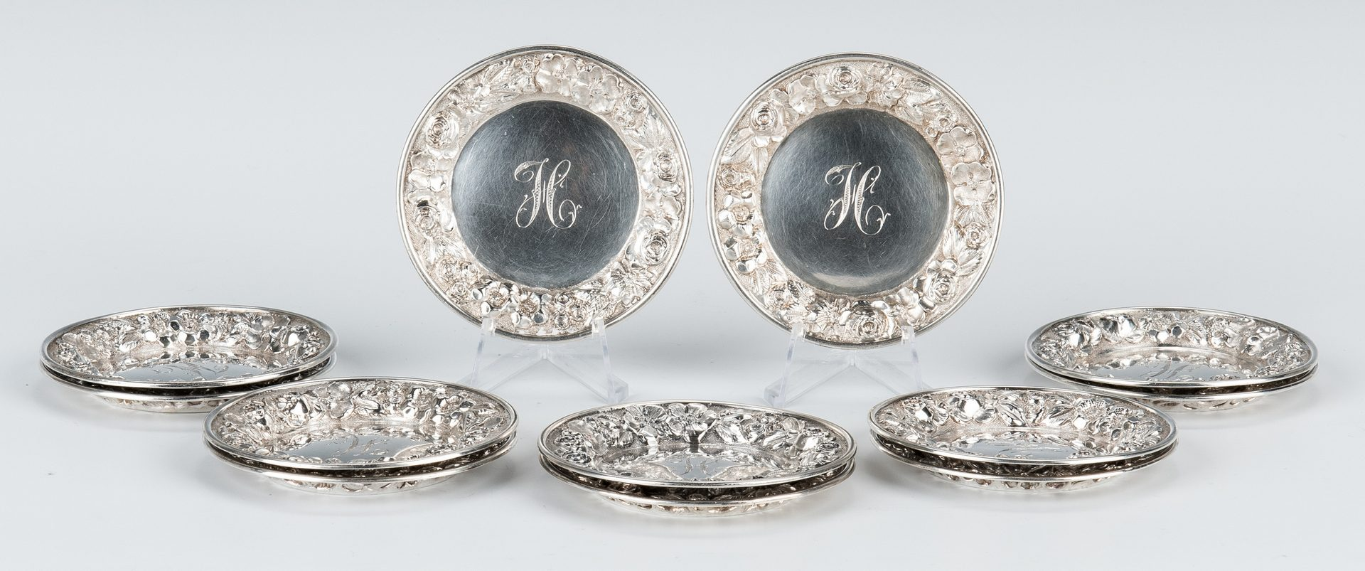 Lot 842: Repousse Sterling Bowl; 12 Butter Pats